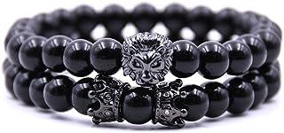 Joan Nunu Handmade 8mm Stone Beads Bracelets Set King Crown Tiger Charm Fashion Jewelry for Men Women