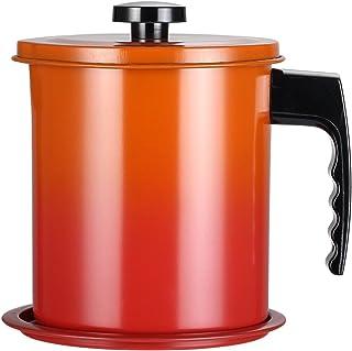 TAMUME 1.6L Olla de Colador de Aceite de Acero Inoxidable, Filtro de Grasa y Contenedor de Aceite con Tapa y Soporte Antideslizante (Naranja)