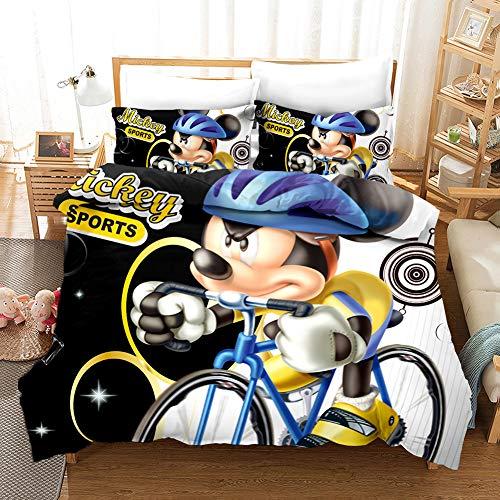 ZHYINA Mickey Minnie - Juego de ropa de cama (funda nórdica y funda de almohada, microfibra, impresión digital 3D, 3 piezas (A8,155 x 220 cm + 75 x 50 cm x 2)