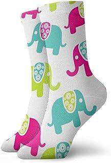 tyui7, Elefantes coloridos y lindos Patrones Calcetines de compresión antideslizantes Calcetines deportivos acogedores de 30 cm para hombres, mujeres y niños