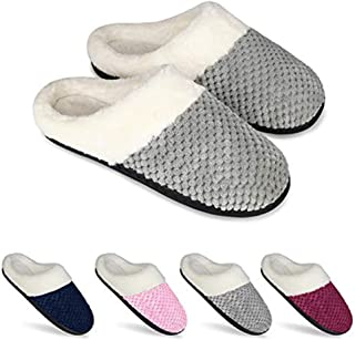 Knitting Womens House Slippers, Warm Anti Skid House Shoes, Breathable Anti-Deformation,Gray,M
