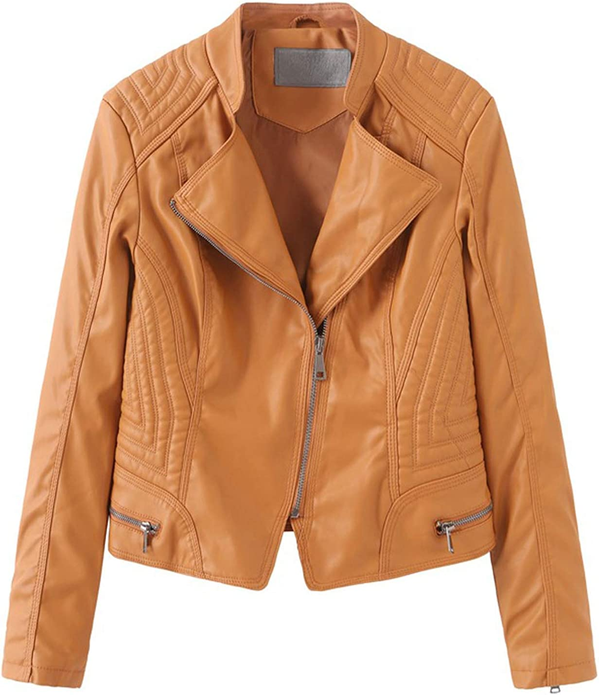 Gihuo Women's Crop Leather Jacket PU Biker Motorcycle Jackets