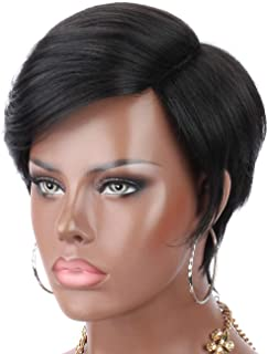 Kalyss Premium Synthetic Short Straight Black Wig with Hair Bangs Deep 6