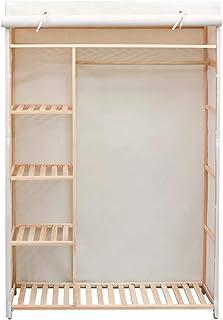 Cikonielf Armoire à vêtements en bois de pin avec housse en tissu et étagères pour chambre 110 x 40 x 170 cm