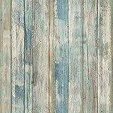 Papier Adhesif pour Meuble Bois Bleu 45cm x 2m Papier Peint Mural Style Moderne Stickers Cuisine Autocollant Mur Décoratif Imperméable Vinyle Chambre Counter Comptoir Armoires