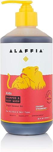 Alaffia Kids Shea Shampoo and Body Wash, Coconut Strawberry 16 Ounces