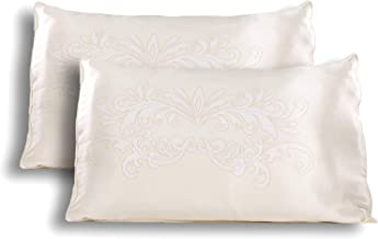 TexereSilk Hand Painted Silk Pillowcase (2-Pack, Winter White 2 PK, K) Home Gift