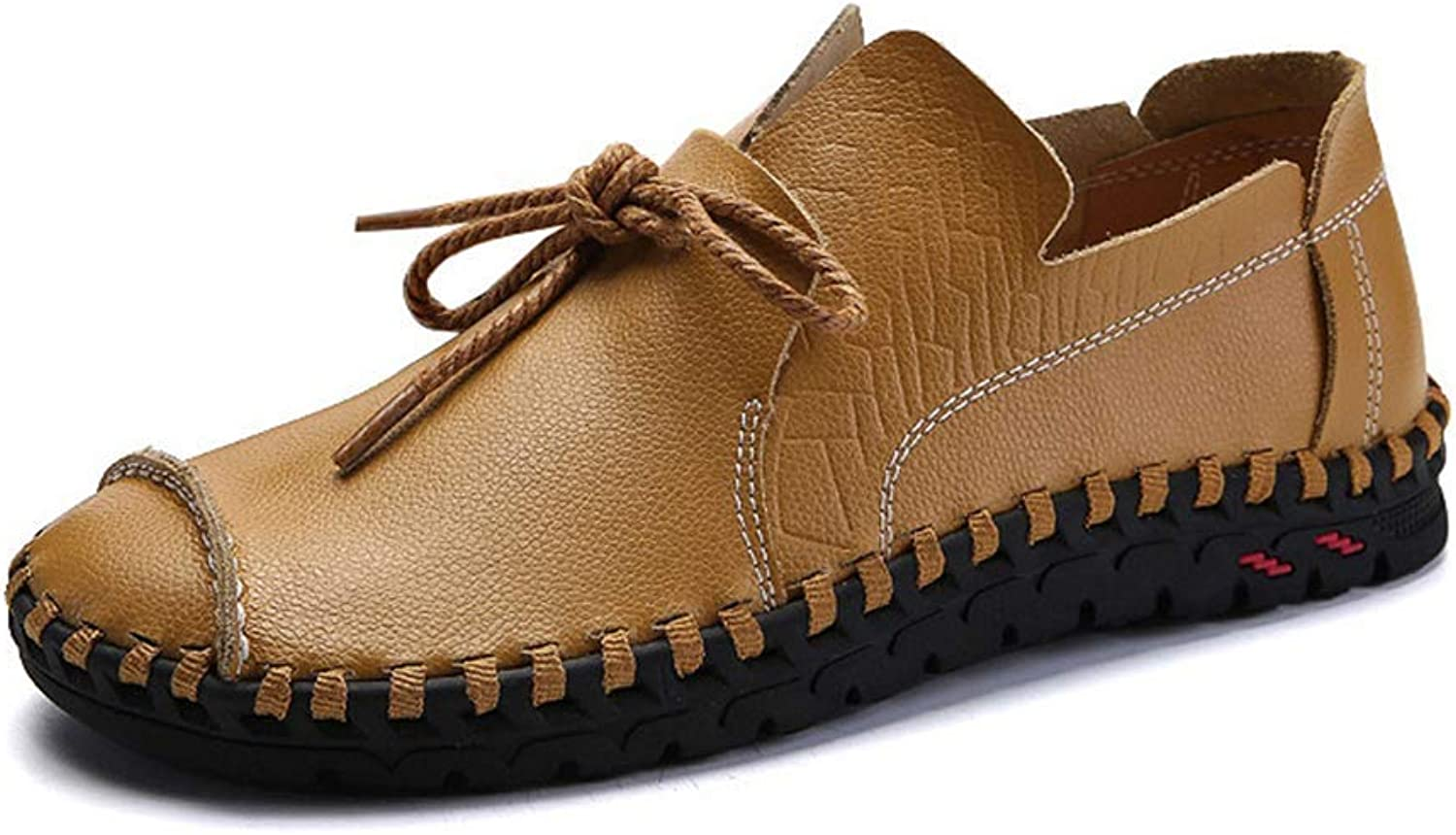 ZHRUI Men Real Leather shoes Driving shoes Handmade Casual shoes Flats Sneakers Male Boat shoes (color   Camel, Size   7=41 EU)