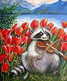 "Raccoon Celebrating Spring 20x24"" Hand Painted by Nadia Bykova Original Oil Painting Animal"