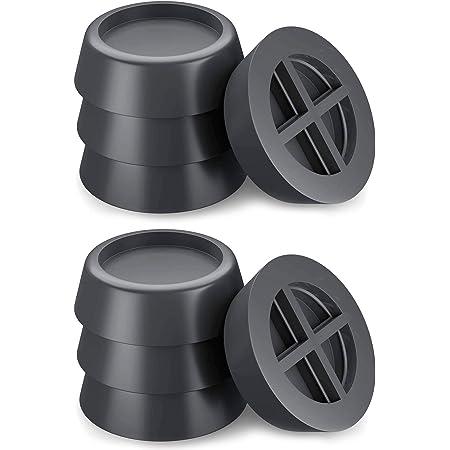 8 PCS Coussinets de pieds de machine à laver Pieds en caoutchouc anti-vibrations universels Coussin de machine à laver à rotation régulière Coussinets anti-vibrations noirs pour meubles (6,5 cm)