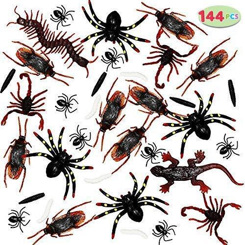 JOYIN 144 Stück Plastik Realistische Wanzen, Fake Bugs Insekten, Gefälschte Kakerlaken, Spinnen, Skorpione und Würmer für Halloween Party und Dekoration