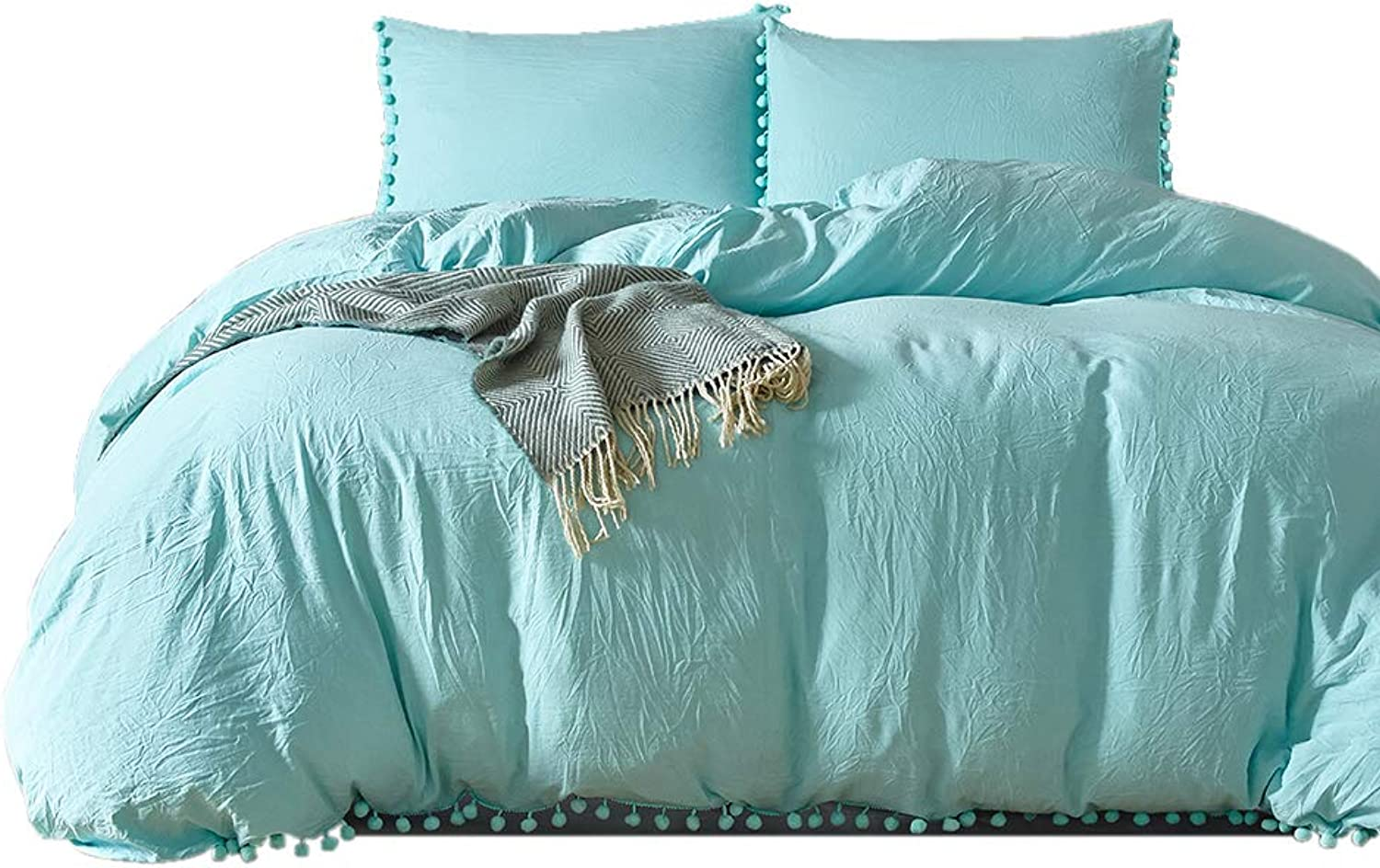 Duvet Cover Set King with Hidden Zipper Closure,Solid color 3 Pieces Soft Microfiber Bedding Set Includes 1 Comforter Cover and 2 Pillow Shams (King, Turquoise)
