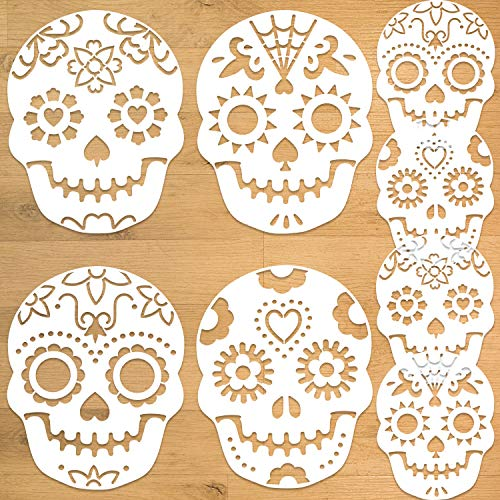 Konsait 8Pack Day of The Dead Cake Stencils Templates, Sugar Skull Cake Stencils Día de Los Muertos Mexican Party Halloween Reusable Cake Cookies Baking Painting Mold Tools, Small & Large Sizes