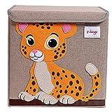 TruReey Falt Aufbewahrungsbox mit Deckel, stabil, klappbar, leicht zu reinigen und zu organisieren, Spielzeug Aufbewahrungsbox, Stoff, 33x 33x 33cm. tiger