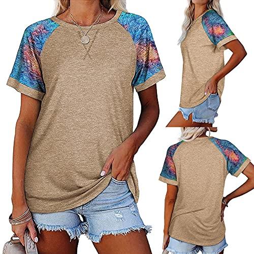 Hapy Camiseta de manga corta para mujer, informal, cuello redondo, de color liso, de verano, elegante, informal, jerséis, básica