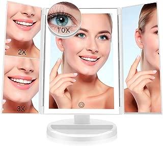 FASCINATE Espejo Maquillaje con Luz,Tríptica Aumentos 10x,