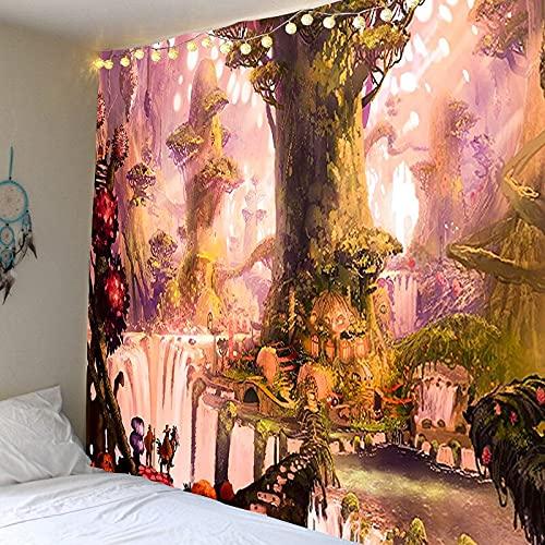 Castillo del bosque, tapiz colorido psicodélico de cuento de hadas, tapiz de tela decorativa de fantasía, revestimiento de paredes bohemio A78 130x150cm