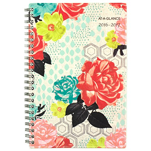 """AT-A-GLANCE Academic Year Weekly/Monthly Planner/Appointment Book, July 2016 - June 2017, Chelsea, 4-7/8""""x8"""", Beige (193-200A)"""