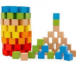 Sasuga 木製 立方体 積み木 100個 キューブ ブロック 知育玩具 幼児 大人 教材(カラフル))