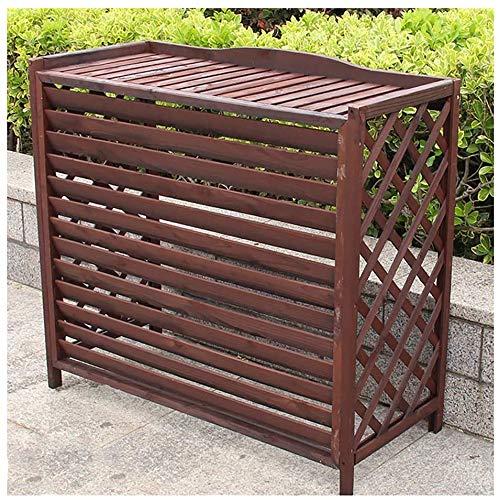 YX Soportes para plantas Estante de aire acondicionado de madera para estante de flores, aire acondicionado con marco de madera al aire libre Persianas en cubierta de aire acondicionado masiva Almac