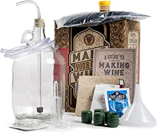 Man Crates Winemaking Kit – Includes Guide To Making Wine, 1 Gallon Glass Jug, Vineyard-Pressed Cabernet Sauvignon Juice, 5 Zork Bottle Closures and More – Great Gifts for Men