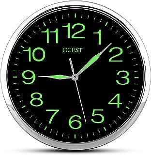 Alchgo Reloj de Pared Luminoso, Reloj de Pared de Cuarzo silencioso de 12 Pulgadas sin tictac con luz Nocturna Pantalla Grande, Interiores, Oficina, Baño, Sala de Estar Dormitorio, Garaje- Plateado