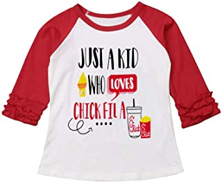 Thanksgiving Toddler Baby Girls Blouse Long Sleeve Printed Ruffles T-Shirt Tops Clothes Outfits