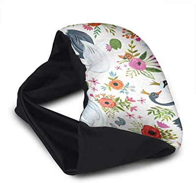 Voyage Travel Pillow Eye Mask 2 in 1 Portable Neck Support Scarf Swan Painting Ergonomic Naps Rest Pillows Sleeper Versatile for Airplanes Car Train Bus Home Office