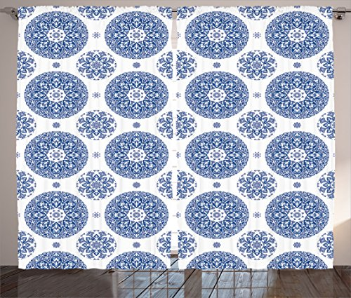 """Ambesonne Vintage Curtains, French Country Style Floral Circular Pattern Lace Ornamental Snowflake Design Print, Living Room Bedroom Window Drapes 2 Panel Set, 108"""" X 84"""", Blue White"""