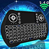 Mini Wireless Keyboard with Touchpad Mouse,2.4GHz Backlit Handheld Keyboard,USB Rechargeable Android Remote for Android TV Box/Smart TV/laptop/PC/Tablets/Windows/Mac/Linux/Xbox/PS3/Raspberry Pi