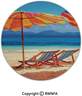 Non-Slip Feet Luxury Round Area Rugs,Deck Chairs Overlooking Tropical Sea of Thailand Beach Exotic Holiday Picture 2' Diameter Orange Blue,for Living & Bedroom Floor Mat Home Decor
