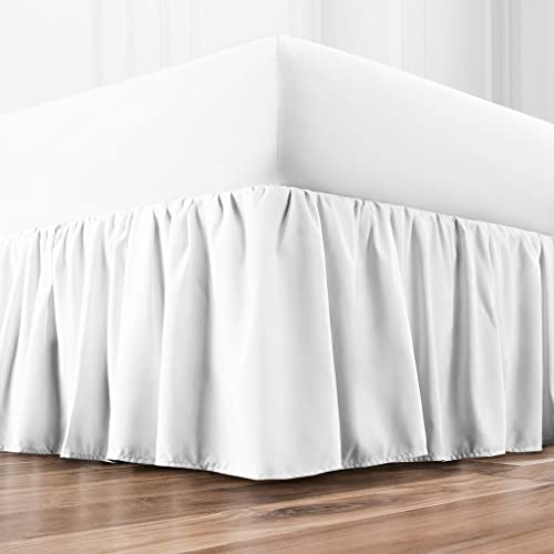 """wholesale Zen Home Luxury Ruffled Bed Skirt - 1500 Series Luxury Brushed Microfiber w/ Bamboo Blend Treatment outlet online sale - Eco-Friendly Dust Ruffle w/ popular 15"""" Drop - Queen- White sale"""