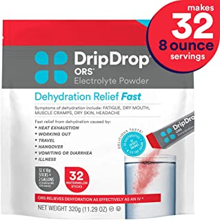 DripDrop ORS - Patented Electrolyte Powder for Dehydration Relief Fast - For Heat Exhaustion, Hangover, Illness, Sweating & Travel Recovery, Watermelon, 32 Count Pouch, Makes (32) 8oz Servings