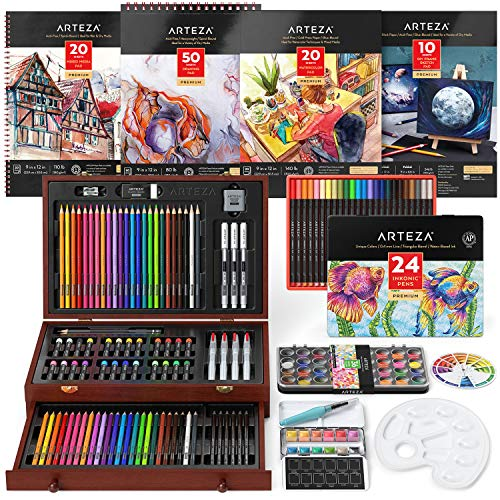 Arteza Mixed Media Art Set, Artist Drawing Kit Includes Colored & Watercolor Pencils, Woodless Graphite Pencils, Water-Soluble Oil Pastels, Watercolor Cakes, and More, Painting Set for Kids & Adults