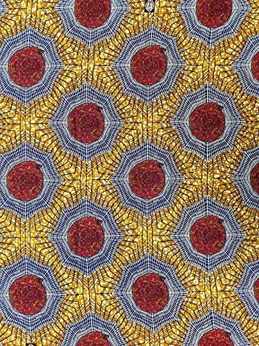 Tela de algodón Roya inspirada en la moda africana y el estilo, ideal para coser y decorar. Tamaño: 5,5 m de largo x 1,2 m de ancho. Tela Ankara Kente.