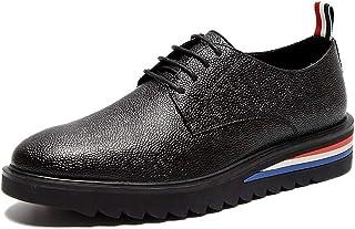 Leather Oxfords for Men Loafers Shoes Lace up Microfiber Leather Vegan Round Toe Low Top Platform Solid Color shoes (Color : Black, Size : 40 EU)