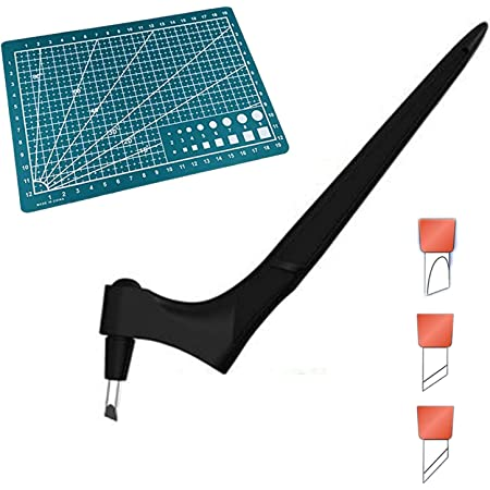 Art Precision Knife Gyro Cut Craft Tool with 360-Degree Rotating Blade Stainless Steel with Three Cutter Heads and a Engraving Board, Craft Knife Blades for Craft, Scrapbooking, Stencil (Black)