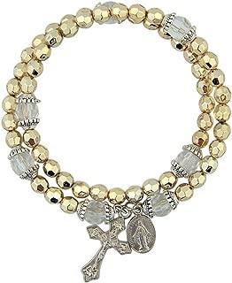 CB Acrylic Prayer Bead Rosary Wrap Bracelet with Miraculous Medal, 8 Inch