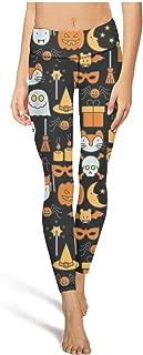 Leggings Womens Pajama Pants Halloween Pumpkin Spider Owl Ghost Black Yoga Pants
