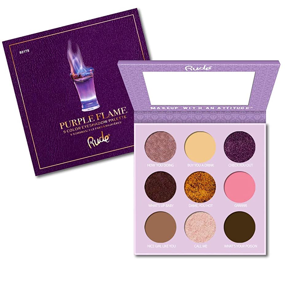 ケニア流暢矩形RUDE Cocktail Party 9 Color Eyeshadow Palette - Purple Flame (並行輸入品)