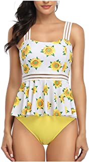 Women Two Piece Swimsuit Tankini, Ladies Floral Printed Sexy Backless Halter Swimdress with Shorts