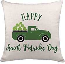 YOENYY St. Patricks Day Throw Pillow Cover Cushion Case for Sofa Couch Truck with Lucky Clove Home Decor Cotton Linen 18 x 18 Inch
