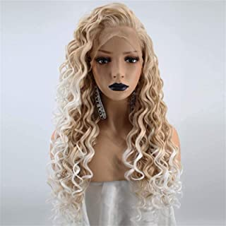 YYCHER African Small Roll Gradient Yellow Rice White Chemical Fiber Hair Front Wig Wig Head Cover Linen Color Long Wig for...