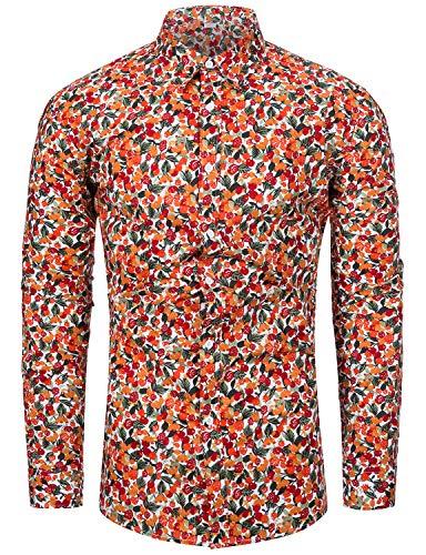 fohemr Blumen Hemden Herren Bunte Hemden Langarmhemd Hemdenmuster Freizeithemd Langarm Casual Shirt Kirschdruck X-Large