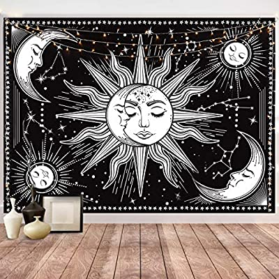Hotmir Wall Tapestry - Black Tapestry Wall Hanging as Wall Art and Home Decor for Bedroom, Living Room, Dorm Decor (51.2x59.1 Inches, 130x150 cm)