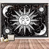 Hotmir Tapestry for Bedroom Aesthetic - Moon Tapestry Wall Hanging Wall Tapestry Black as Wall Art for Bedroom, Living Room, Dorm Decor - Printed without Fringe (51.2x59.1 Inches, 130x150 cm)