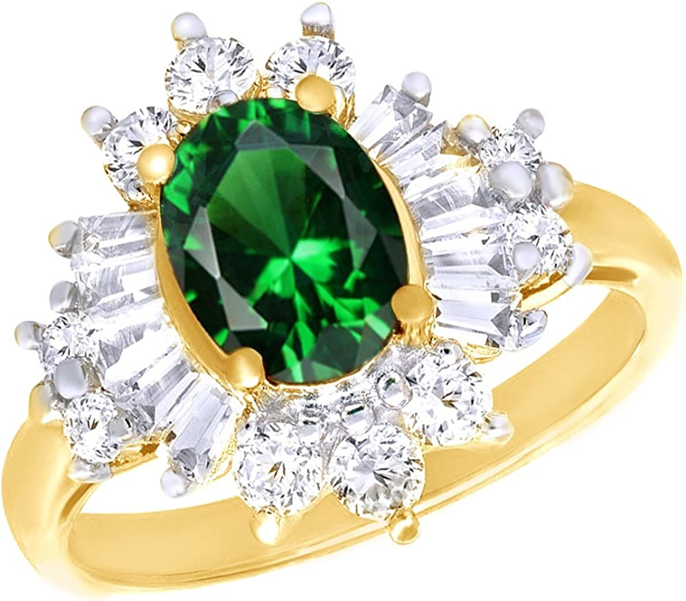AFFY 2 1/3 Ct Simulated Green Emerald White Topaz CZ Cluster Rin
