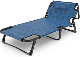 Folding Bed Simple Folding Bed Foldaway Single Guest Beds Adjustable Lounge Chair 5 Level Height Mattress Easy Storage (Co...