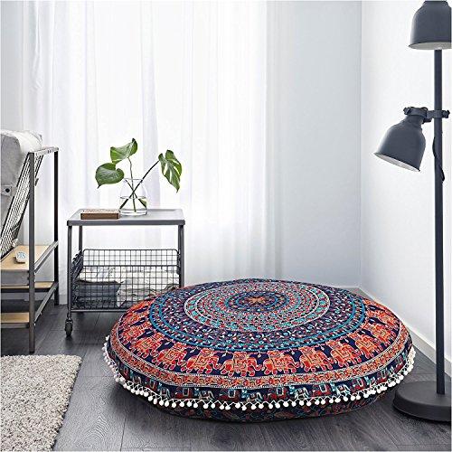 Monika Enterprises Deko-Kissen für Boden, indisches Mandala, Hippie-Kissen, Sitzkissen, Sofa-Überwurf, 81 cm, Blau