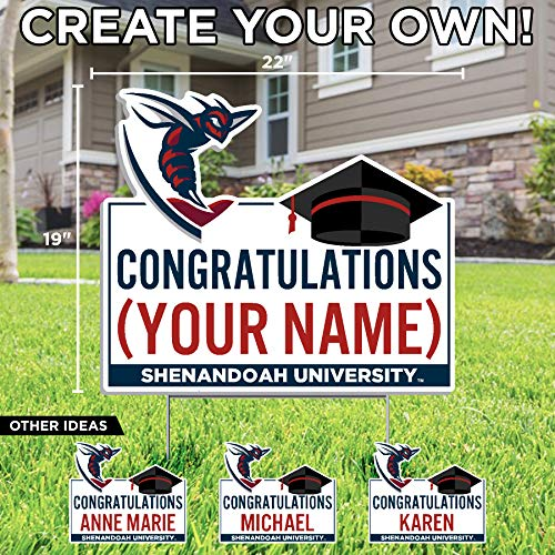 Color Shock Products Personalized Shenandoah University Graduation Lawn Sign - Customize with Any Name (Officially Licensed)